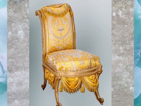 D'après un fauteuil, de Georges Jacob, noyer doré, 1777, cabinet turc du comte d'Artois, palais du temple, Paris, France, XVIIIe siècle, Néoclassique. (Marsailly/Blogostelle)