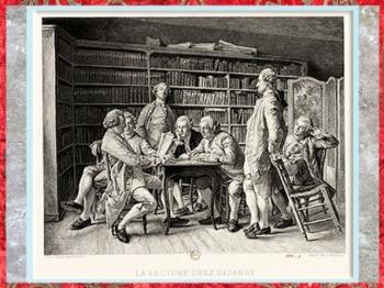 D'après La lecture chez Diderot, gravure Louis Monziès, 1888, France, XIXe siècle. (Marsailly/Blogostelle)