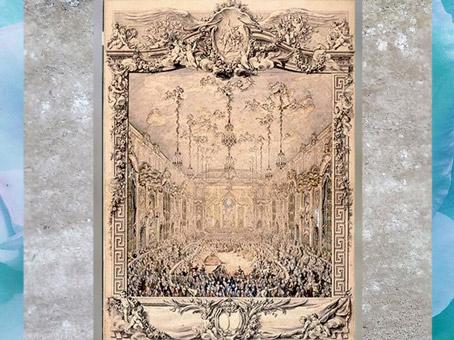 D'après Le bal donné pour le mariage de Louis Dauphin avec Marie-Thérèse, infante d'Espagne, en 1745, dessin de Charles-Nicolas Cochin, 1746, époque Louis XV, France, XVIIIe siècle. (Marsailly/Blogostelle)
