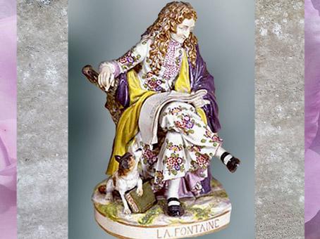 D'après Jean de La Fontaine, porcelaine peinte, modèle de Pierre Julien de 1784, série des Grands Hommes de la France, XVIIIe siècle. (Marsailly/Blogostelle)
