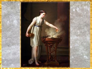 D'après L'Athénienne vertueuse, de Joseph-Marie Vien, 1762, XVIIIe siècle, France, style Néoclassique. (Marsailly/Blogostelle)