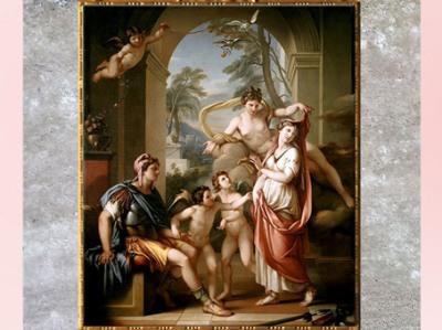 D'après la déesse Vénus accordant Hélène pour épouse à Pâris, de Gavin Hamilton, 1782-1784, huile sur toile, XVIIIe siècle, style Néoclassique. (Marsailly/Blogostelle)