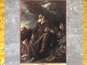 D'après L'ermite endormi, de Joseph-Marie Vien, 1750, présenté au Salon de 1753, à Paris, collection de Louis XVI, huile sur toile, France, XVIIIe siècle. (Marsailly/Blogostelle)