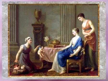 D'après La Marchande d'Amours, de Joseph-Marie Vien, 1763, château de Fontainebleau, huile sur toile France, XVIIIe siècle, Néoclassique. (Marsailly/Blogostelle)