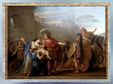 D'après Les Adieux d'Hector et Andromaque, de Joseph-Marie Vien, 1786, Paris, France, XVIIIe siècle, Néoclassique. (Marsailly/Blogostelle)