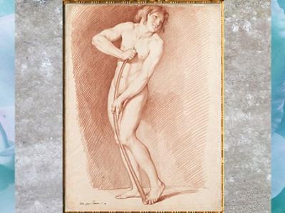 D'après l'étude pour L'Amour se faisant un arc dans la massue d'Hercule, d'Edme Bouchardon, sanguine, 1750, XVIIIe siècle, France, style Néoclassique. (Marsailly/Blogostelle)