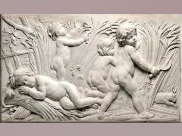 D'après une Allégorie de l'été, jeux d'enfants, d'Edme Bouchardon, bas relief, décor de la fontaine de Grenelle, XVIIIe siècle, France, style Néoclassique. (Marsailly/Blogostelle)