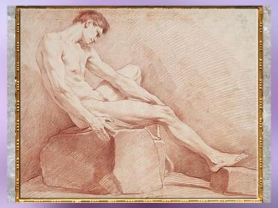 D'après un Homme nu assis, d'Edme Bouchardon, sanguine, XVIIIe siècle, France, style Néoclassique. (Marsailly/Blogostelle)