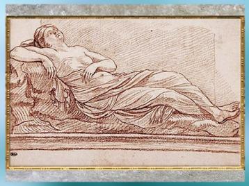 D'après la Nymphe endormie, d'Edme Bouchardon, selon un modèle antique à Rome, sanguine, vers 1723-1732, XVIIIe siècle, France, style Néoclassique. (Marsailly/Blogostelle)