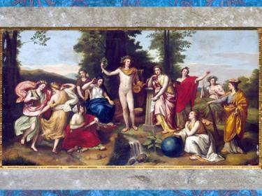 D'après Le Parnasse, Apollon, Mnémosyne et les neuf muses, d'Anton Raphaël Mengs, vers 1760-1761, fresque, Villa Albani, Rome, XVIIIe siècle, Néoclassique. (Marsailly/Blogostelle)