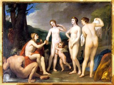 D'après Le Jugement de Pâris, d'Anton Raphaël Mengs, 1757, huile sur toile, XVIIIe siècle, style Néoclassique. (Marsailly/Blogostelle)