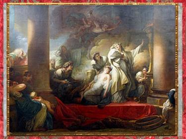 D'après Le sacrifice du Grand prêtre Corésus pour sauver Callirhoé, de Jean-Honoré Fragonard, huile sur toile, Salon de 1765, inspiré de Pausanias, XVIIIe siècle. (Marsailly/Blogostelle)