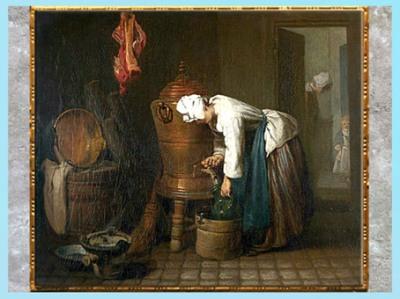 D'après La Fontaine (réservoir d'eau), de Jean Simeon Chardin, 1733, huile sur toile, XVIIIe siècle France, XVIIIe siècle, style Néoclassique. (Marsailly/Blogostelle)