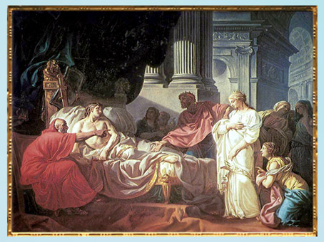 D'après Erasistrate découvrant la cause de la maladie d'Antiochius, de Jacques-Louis David, 1774, sujet tiré de Plutarque, XVIIIe siècle, Néoclassique. (Marsailly/Blogostelle)