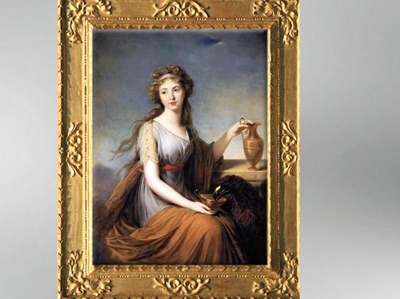 D'après Anna Pitt en Hébé, Élisabeth Louise Vigée Le Brun, 1792, portrait, XVIIIe siècle, Néoclassique. (Marsailly/Blogostelle)