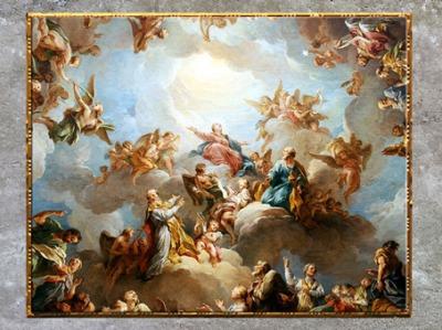 D'après La Vierge en gloire, de François Lemoine, détail, 1732, esquisse, huile sur toile, voûte de la Chapelle de la Vierge, Église de Saint-Sulpice, Paris, France, XVIIIe siècle. (Marsailly/Blogostelle)