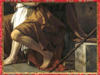 D'après Bélisaire demandant l'aumône, de Jacques-Louis David, 1781, détail : l'inscription, France, XVIIIe siècle, Néoclassique. (Marsailly/Blogostelle)