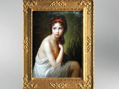 D'après Julie Le Brun en Baigneuse, Élisabeth Louise Vigée Le Brun, 1792, portrait, XVIIIe siècle, Néoclassique. (Marsailly/Blogostelle)