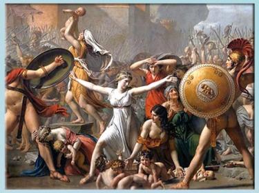 D'après Les Sabines, de Jacques-Louis David, détail, le Romain Romulus et son bouclier à la Louve, 1799, XVIIIe siècle, Néoclassique. (Marsailly/Blogostelle)