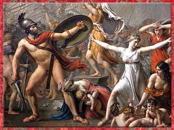D'après Les Sabines, de Jacques-Louis David, détail, le roi des Sabins, Tatius, 1799, XVIIIe siècle, Néoclassique. (Marsailly/Blogostelle)