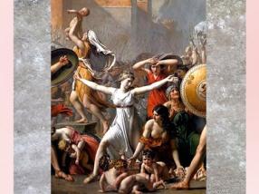 D'après Les Sabines, de Jacques-Louis David, détail, Hersilie et les femmes, 1799, XVIIIe siècle, Néoclassique. (Marsailly/Blogostelle)