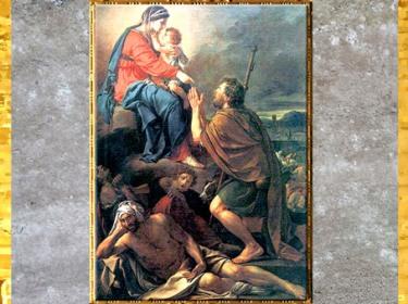 D'après saint Roch intercédant la Vierge pour la guérison des pestiférés, de Jacques-Louis David, 1780, huile sur toile, France, XVIIIe siècle, Néoclassique. (Marsailly/Blogostelle)