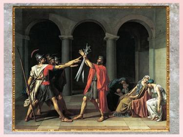 D'après Le Serment des Horaces, de Jacques-Louis David, 1784, huile sur toile, France, XVIIIe siècle, Néoclassique. (Marsailly/Blogostelle)