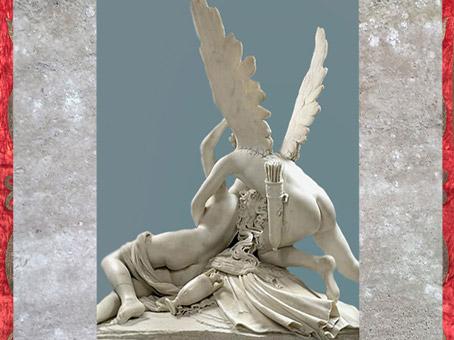 D'après Psyché ranimée par le baiser d'Éros, dos, d'Antonio Canova, 1793, marbre, XVIIIe siècle, Néoclassique. (Marsailly/Blogostelle)