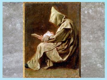 D'après un Moine en prière, de Jean Restout, 1711, dessin à l'huile, France, XVIIIe siècle. (Marsailly/Blogostelle)