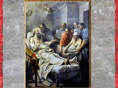 D'après L'Agonie de saint Augustin, de Carle Van Loo, vers 1754, huile sur toile, choeur Notre-Dame-des-Victoires, Paris, XVIIIe siècle. (Marsailly/Blogostelle)