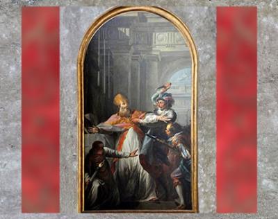 D'après Le Meurtre de saint Thomas Beckett, de Jean-Baptiste Marie Pierre, 1748, huile sur toile, église Notre-Dame-de-Bercy, Paris, France, XVIIIe siècle. (Marsailly/Blogostelle)