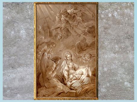D'après l'Adoration des anges, de Carle Van Loo, 1750-1751, esquisse, grisaille, France, XVIIIe siècle. (Marsailly/Blogostelle)