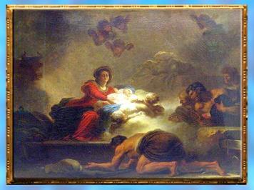 D'après L'Adoration des bergers, de Jean-Honoré Fragonard, vers 1775, huile sur toile (pendant du tableau Le verrou), commande du marquis de Véri, amateur d'art, France, XVIIIe siècle. (Marsailly/Blogostelle)