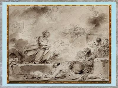 D'après L'Adoration des bergers, de Jean-Honoré Fragonard, vers 1775, esquisse lavis brun, tracé pierre noire, France, XVIIIe siècle. (Marsailly/Blogostelle)