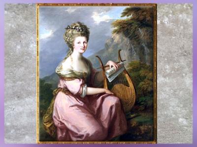 D'après Sarah Harrop (Madame Bates) en muse, portrait, 1780-1781, d'Angelika Kauffmann, huile sur toile, XVIIIe siècle, Néoclassique. (Marsailly/Blogostelle)