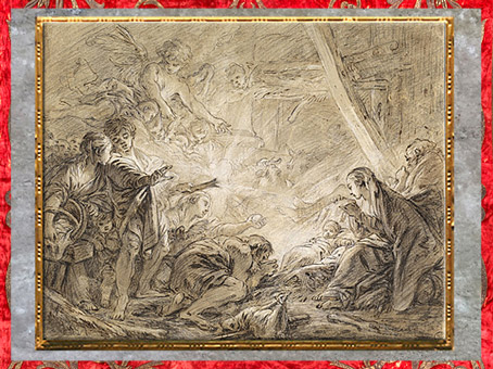 D'après L'Adoration des bergers, de François Boucher, 1758-1760, esquisse, craie noire, plume encre brune et lavis, XVIIIe siècle, France. (Marsailly/Blogostelle)