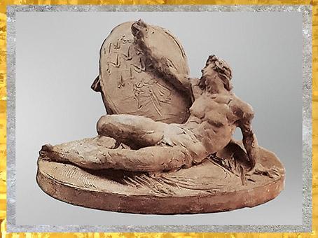 D'après Le Spartiate Othryadès mourant, de Johan Tobias Sergel, terre cuite, esquisse, vers 1779, XVIIIe siècle, Néoclassique. (Marsailly/Blogostelle)