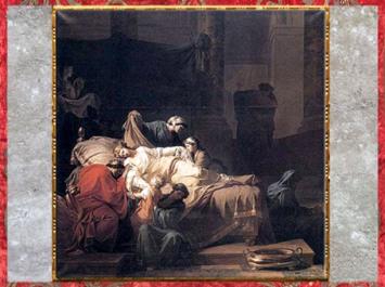 D'après La Mort d'Alceste ou L'Héroïsme de l'amour conjugal, de Jean François Pierre Peyron, Paris, Salon de 1785, XVIIIe siècle, Néoclassique. (Marsailly/Blogostelle)