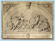 D'après La Lapidation de Saint-Étienne, d'Edme Bouchardon, esquisse, portail de la cathédrale Saint-Bénigne, Dijon, France, XVIIIe siècle. (Marsailly/Blogostelle)