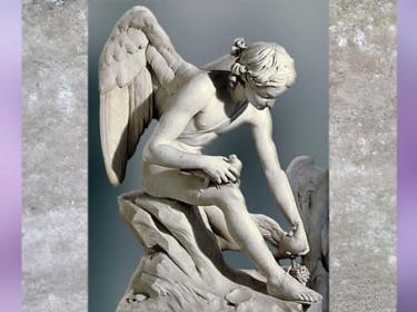 D'après Cupidon assis au bord de la mer et les colombes de Vénus, de Louis-Claude Vassé, 1755, marbre, France, XVIIIe siècle, Néoclassique. (Marsailly/Blogostelle)