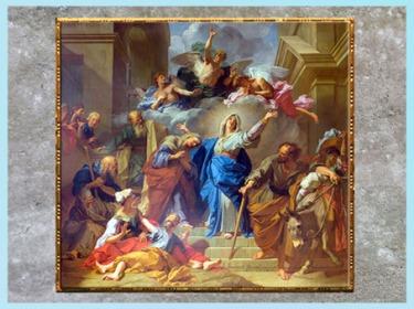 D'après La visitation de la Vierge ou Le Magnificat, de Jean Jouvenet, 1716, huile sur toile, pour la cathédrale Notre-Dame de Paris, France, XVIIIe siècle. (Marsailly/Blogostelle)