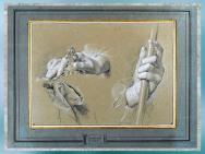 D'après Étude de mains, de Hyacinthe Rigaud, pierre noire, rehauts de blanc, papier gris-bleu, pour le Portrait de Louis XV, signé et daté de 1730, collection Mariette au XVIIIe siècle. (Marsailly/Blogostelle)