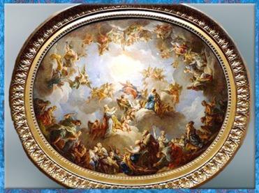 D'après La Vierge en gloire, de François Lemoine, 1732, esquisse, huile sur toile, voûte de la Chapelle de la Vierge, Église de Saint-Sulpice, Paris, France, XVIIIe siècle. (Marsailly/Blogostelle)