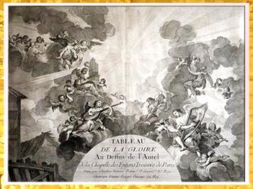 D'après La Gloire, décor de la Chapelle des Enfants trouvé, Charles-Joseph Natoire, vers 1752-1759, gravure Etienne Fessard Paris, France, XVIIIe siècle (Marsailly/Blogostelle)