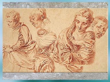 D'après Six figures, Antoine Watteau, sanguine, collection Mariette au XVIIIe siècle. (Marsailly/Blogostelle)