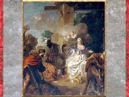 D'après L'Adoration des Mages, de Jean-Baptiste Oudry, 1717, huile sur toile, pour le prieuré de Saint-Martin-des-Champs, Villeneuve-Saint-Georges, France, XVIIIe siècle. (Marsailly/Blogostelle)
