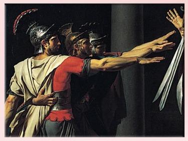D'après Le Serment des Horaces, de Jacques-Louis David, détail, visages héroïques, 1784, huile sur toile, France, XVIIIe siècle, Néoclassique. (Marsailly/Blogostelle)