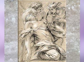 D'après La Madeleine et deux anges, de Simon Vouet, pierre noire, rehauts blancs, papier brun, cabinet du roi en 1775-1776, collection Mariette au XVIIIe siècle. (Marsailly/Blogostelle)