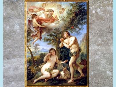 D'après Adam et Ève chassés du Paradis terrestre de, Charles-Joseph Natoire, 1740, huile sur toile, France, XVIIIe siècle (Marsailly/Blogostelle)