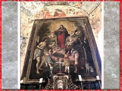 D'après L'Immaculée Conception, saint Sébastien et saint Roch, peintre anonyme, maître autel de Notre-Dame de Vic, Vic-d'Oust, Pyrénées XVIIe siècle, art Baroque. (Marsailly/Blogostelle)